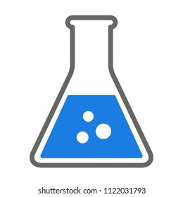 Erlenmeyer flask chemistry beaker with blue chemical flat vector icon for science apps and websites