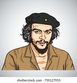 Ernesto Che Guevara. Vector Portrait Illustration. October 16, 2017