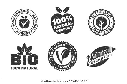 Eroded set of organic natural food labels