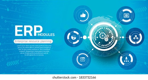 ERP. Enterprise resource planning business and modern technology concept
