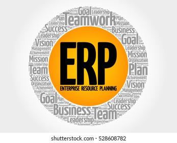 ERP - Enterprise Resource Planning circle word cloud, business concept
