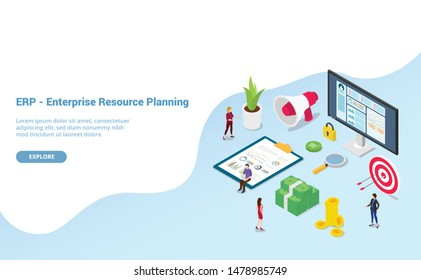 erp enterprise resource planning concept with team people and asset company with modern isometric style for website template or landing homepage - vector