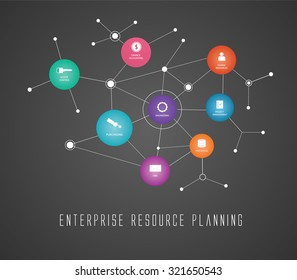 erp - enterprise resource planning concepts and illustrated vector flat design