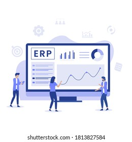 ERP Enterprise resource planning illustration concept, productivity and company enhancement. Illustration for websites, landing pages, mobile applications, posters and banners.