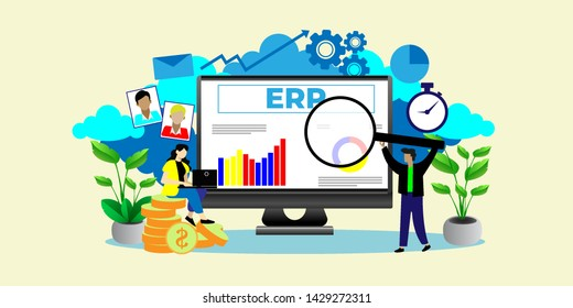 ERP, enterprise resource planning. Productivity and improvement Concept, can use for, landing page, template, ui, web, mobile app, poster, banner, flyer
