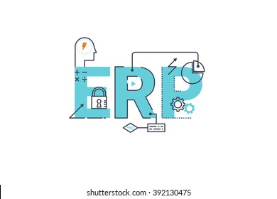 ERP - Enterprise resource planning word lettering typography design illustration with line icons and ornaments in blue theme