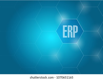 ERP link diagram concept, illustration over a blue background