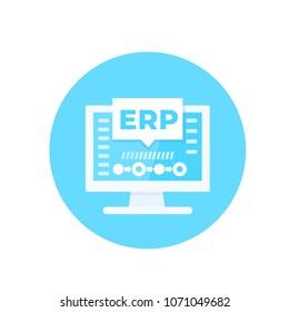 ERP software, enterprise resource planning vector illustration