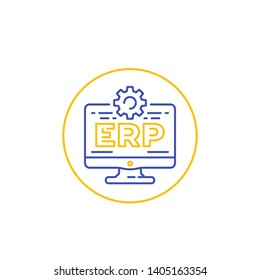 ERP software icon with computer, linear