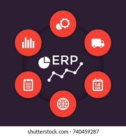 ERP software vector icons