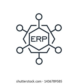ERP system, Enterprise resource planning.Business automation and innovation.Vector linear icon, white background.