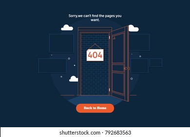 Error 404 concept with blocked door concept.Thin line colorful flat vector illustration