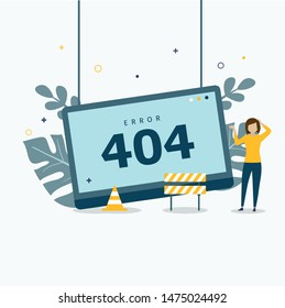 Error 404 concept landing page. error 404 concept design can be used for websites, landing pages, UI, mobile applications, posters, banner
