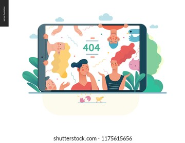 error 404 -modern flat vector concept illustration of page Error 404 - puzzled people on the tablet screen. Page not found metaphor Creative landing page design template