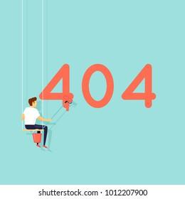 Error 404 page. Builders, repair, crane, site. Flat vector illustration in cartoon style.