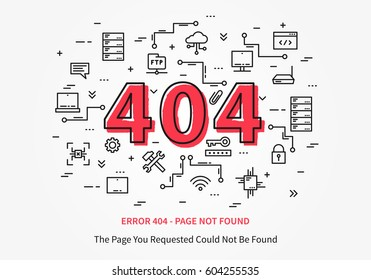 Error 404 page with datacenter, server elements vector illustration. Broken web page graphic design. Error 404 page not found creative template.