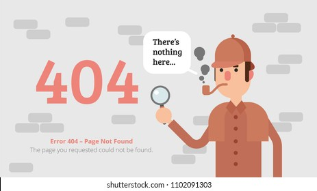 Error 404 Page Layout Vector Design. Page not Found Concept With Detective Sherlock Holmes. Flat Illustration