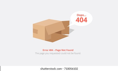 Error 404 page layout vector design with empty box. The page you requested could not be found.