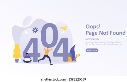 Error 404, Page Not Found Concept. Suitable for web landing page, ui, mobile app, banner template. Vector Illustration