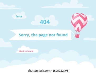 Error 404, page not found website concept vector illustration. Blue skyscape with red hot air balloon and banner with warning message, 404, Sorry, page not found for travel internet site or mobile app