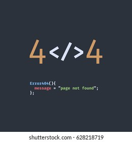 Error 404 page not found. The inscription in the form of program code. Stylised as a text editor for web programming.