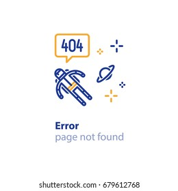Error 404 page not found concept illustration, webpage banner, search result message, cosmonaut in space free flying, vector line design