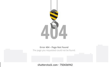 Error 404 Page Not Found Template With Crane Hook. Vector Illustration