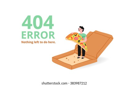 Error 404 page with a pizza, vector illustrated template