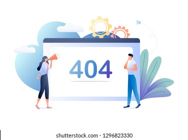 Error 404 with people and big computer screen, disconnection from the Internet, unavailable page. Business concept vector illustration. For web banner, website, flyer, card