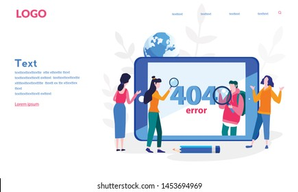 Error 404, people on the tablet screen. Page not found Vector illustration for web banner, print, infographics, mobile website. Landing page template.