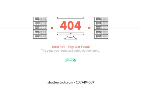 Error 404 web page template vector design. Website 404 page error with servers, desktop and broken connection creative concept. Modern 404 page not found line art.