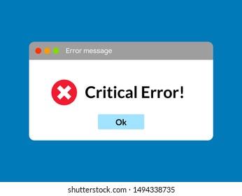Error message computer window alert popup. System error vector icon failure pc interface.