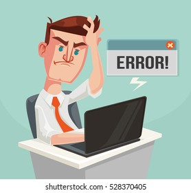 Error message and puzzled office worker character. Hard work. Vector flat cartoon illustration