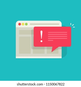 Error message vector illustration, flat cartoon exclamation alert notification on browser website page, internet error