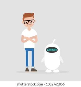 Error. New technologies.  Miscommunication between young millennial character and a robot. Flat editable vector illustration, clip art