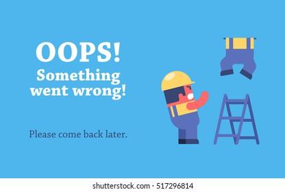 Error page design. Funny cartoon workers repairs website.