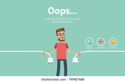 Error page illustration. Man holding unplugged cable. Page not found.
