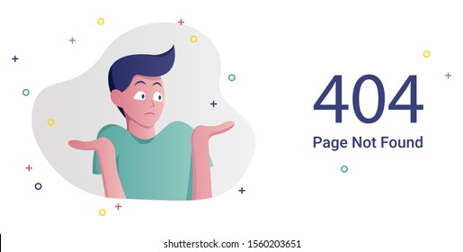 Error page not found. 404 internet connection problem message flat vector illustration. Broken link web banner template. Website standard response code. Male cartoon character confused gesture.