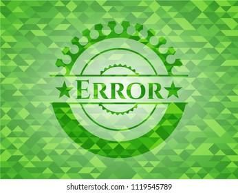 Error realistic green mosaic emblem