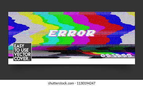 Error VHS vector cover phrase in pixel art style with screen glitch, static noise effect. Three colors illustration. Retro vintage TV television disturbances screen. Basic platform. Occasional pixels.