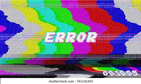 Error VHS vector phrase in pixel art style with screen glitch VHS static noise effect. Three colors illustration. Retro vintage TV television disturbances screen. Basic platform. Occasional pixels.