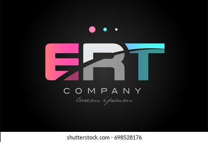 ERT e r t three 3 letter logo combination alphabet vector creative company icon design template modern  pink blue white grey