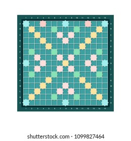 Erudite square board design with grid of blank colorful cells. Popular intellectual tabletop word game for improving vocabulary, verbal or mental skills. Modern vector illustration