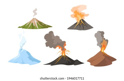 Erupting volcano with fire and smoke set. Awakening and erupting volcano blowing up lava, magma and ash from crater. Concept for nature, disaster. Vector isolated cartoon illustration collection
