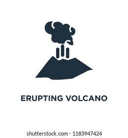 Erupting Volcano icon. Black filled vector illustration. Erupting Volcano symbol on white background. Can be used in web and mobile.