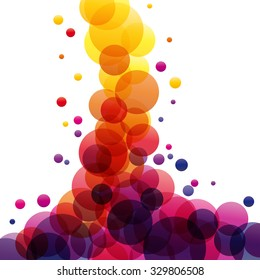 Eruption of colored splashes in abstract shape