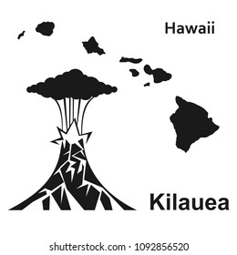 The Eruption Of Hawaiian Volcano Kilauea Black Icon On White Background Vector