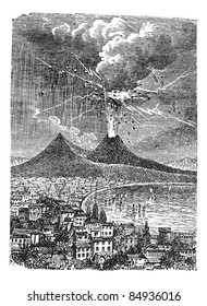 Eruption of Mount Vesuvius, in Naples, Italy, in 1872, vintage engraved illustration. Trousset encyclopedia (1886 - 1891).