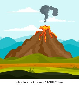 Eruption of volcano background. Flat illustration of eruption of volcano vector background for web design