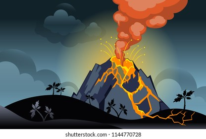 eruption of the volcano at night on the sky background. Horizontal back. Vector.